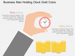 Business Man Holding Clock Gold Coins Flat Powerpoint Design