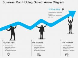 Business Man Holding Growth Arrow Diagram Flat Powerpoint Design