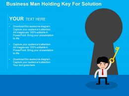 Business Man Holding Key For Solution Flat Powerpoint Design