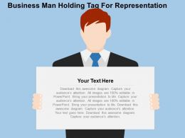 Business Man Holding Tag For Representation Flat Powerpoint Design