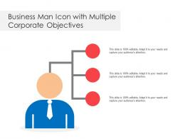 Business Man Icon With Multiple Corporate Objectives
