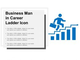 Business Man In Career Ladder Icon