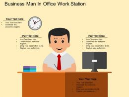 Business Man In Office Work Station Flat Powerpoint Desgin