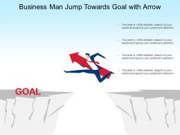 Business Man Jump Towards Goal With Arrow