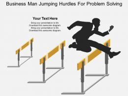 Business Man Jumping Hurdles For Problem Solving Flat Powerpoint Design