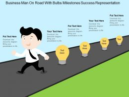 Business Man On Road With Bulbs Milestones Success Representation Flat Powerpoint Design