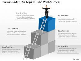 Business Man On Top Of Cube With Success Powerpoint Template