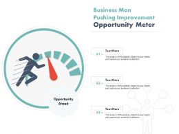 Business Man Pushing Improvement Opportunity Meter