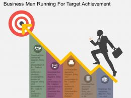 Business Man Running For Target Achievement Flat Powerpoint Design