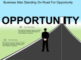 Business Man Standing On Road For Opportunity Flat Powerpoint Design
