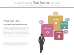 Business Man Text Boxes For Communication Idea Generation Powerpoint Slides