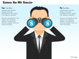 Business Man With Binocular Powerpoint Template