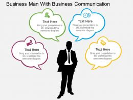 Business Man With Business Communication Flat Powerpoint Design
