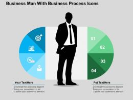 Business Man With Business Process Icons Flat Powerpoint Design