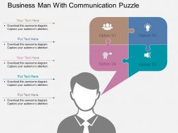 Business Man With Communication Puzzle Flat Powerpoint Design