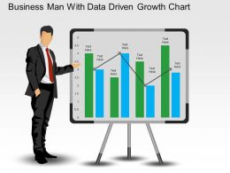 Business Man With Data Driven Growth Chart Powerpoint Slides