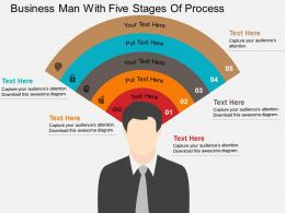 Business Man With Five Stages Of Process Flat Powerpoint Design