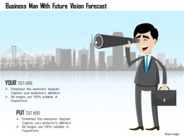 Business Man With Future Vision Forecast Powerpoint Template