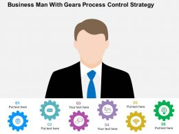 Business Man With Gears Process Control Strategy Flat Powerpoint Design