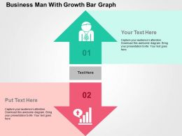 Business Man With Growth Bar Graph Flat Powerpoint Design