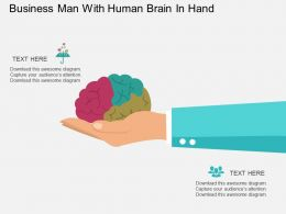 Business Man With Human Brain In Hand Flat Powerpoint Desgin