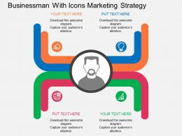 Business Man With Icons Marketing Strategy Flat Powerpoint Desgin