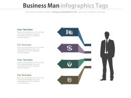 Business Man With Infographics Tags And Icons Powerpoint Slide