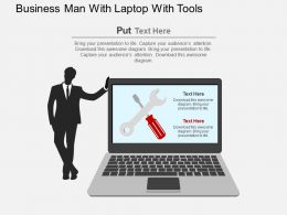 Business Man With Laptop With Tools Flat Powerpoint Design