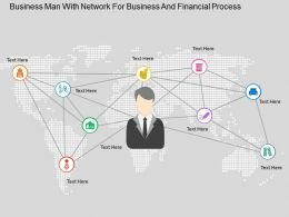 Business Man With Network For Business And Financial Process Flat Powerpoint Design