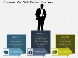 Business Man With Podium Success Flat Powerpoint Design