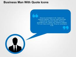 Business Man With Quote Icons Flat Powerpoint Design