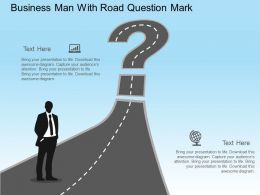 Business Man With Road Question Mark Flat Powerpoint Design