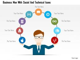 Business Man With Social And Technical Icons Flat Powerpoint Design