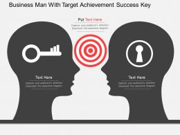 Business Man With Target Achievement Success Key Flat Powerpoint Design