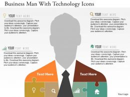 Business Man With Technology Icons Flat Powerpoint Design