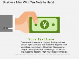 Business Man With Yen Note In Hand Flat Powerpoint Design