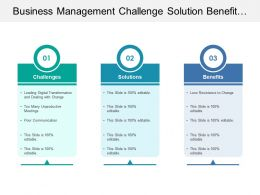 Business Management Challenge Solution Benefit With Text Boxes
