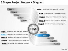 Business Management Consultants 5 Stages Project Network Diagram Powerpoint Slides