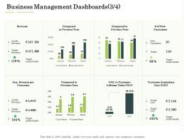 Business Management Dashboards Compared Administration Management Ppt Ideas