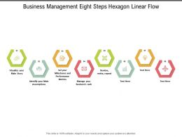 Business Management Eight Steps Hexagon Linear Flow