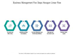 Business Management Five Steps Hexagon Linear Flow