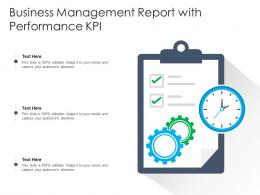 Business Management Report With Performance KPI