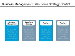 Business Management Sales Force Strategy Conflict Management Production Process Cpb