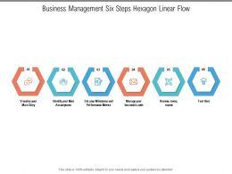 Business Management Six Steps Hexagon Linear Flow