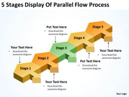 Business Management Structure Diagram 5 Stages Display Of Parallel Flow Process Powerpoint Slides