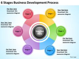 Business Management Structure Diagram 6 Stages Development Process Powerpoint Slides