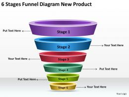 Business Management Structure Diagram 6 Stages Funnel New Product Powerpoint Slides