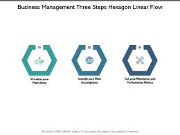 Business Management Three Steps Hexagon Linear Flow