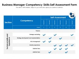 Business Manager Competency Skills Self Assessment Form