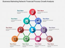 Business Marketing Network Financial Process Growth Analysis Flat Powerpoint Design